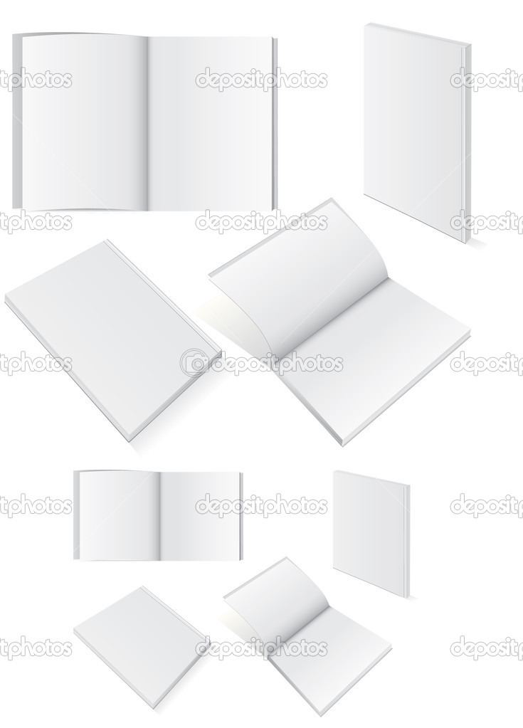 Illustration set of books with softcover.