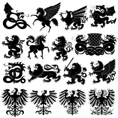 Vector set of heraldic animals