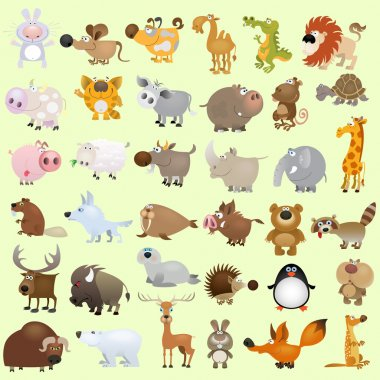 Big vector cartoon animal set stock vector