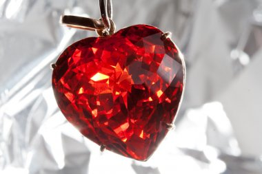 Ruby heart-shaped precious stone