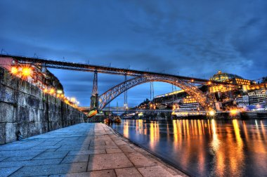 Dom Luis Bridge illuminated at night. Oporto, Portugal western Europe