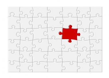 Blank Jigsaw Puzzle with Red Piece - XL