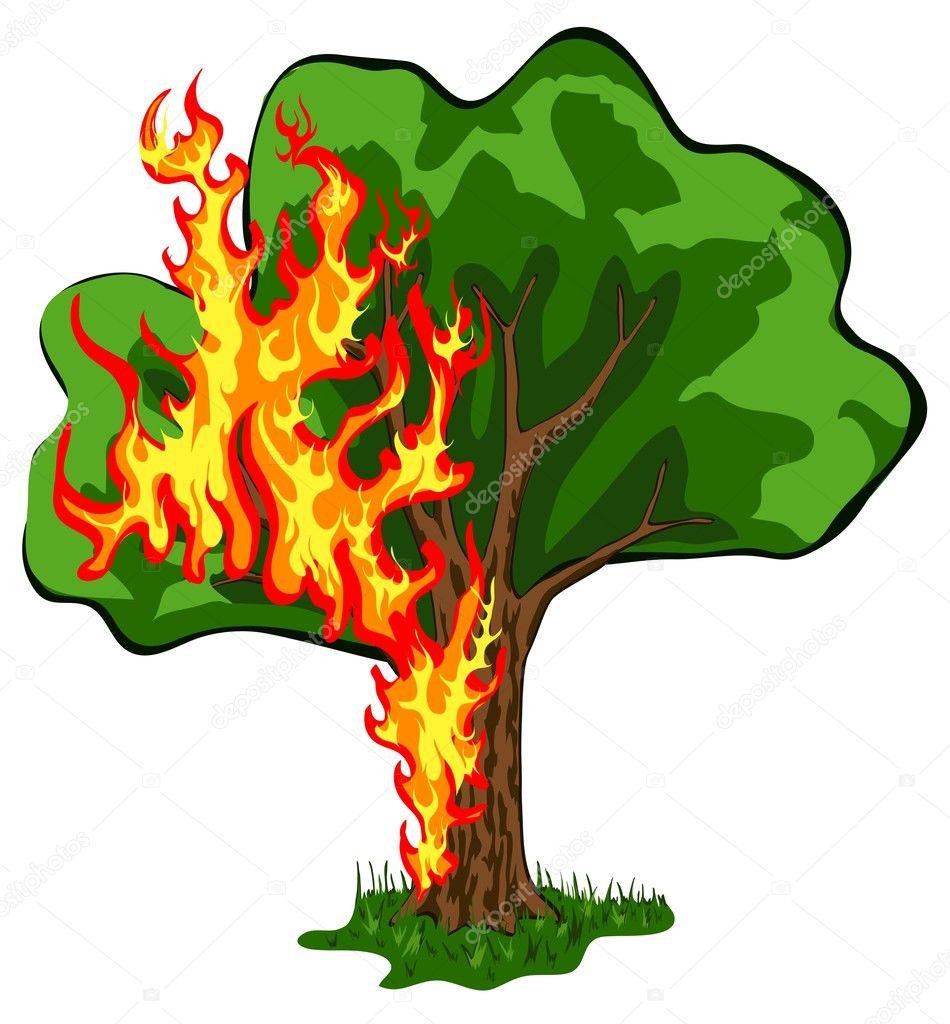 árbol en llamas — Vector de stock © Leonid #5679693
