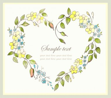 Hand drawn valentines day greeting card. Decorative framework with flowers. clip art vector