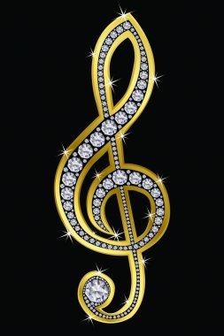 Treble clef golden with diamonds, vector illustration