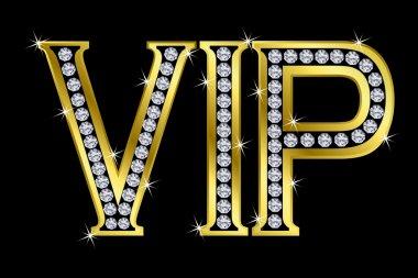 Vip golden icon with diamonds,vector clip art vector