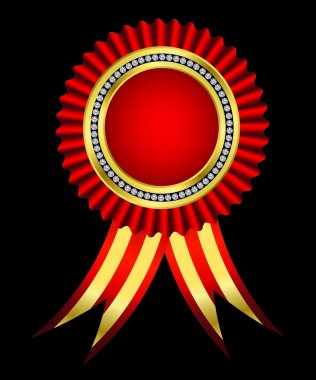 Red award ribbon, golden with diamonds