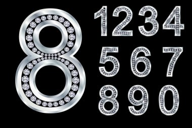 Numbers set, from 1 to 9, silver with diamonds