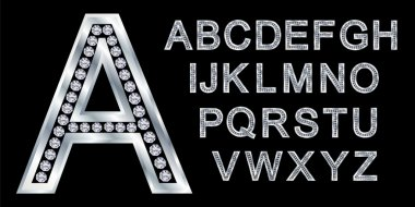 Silver alphabet, letters from A to Z