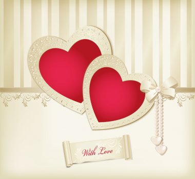 Vector beige background with photo frames two red hearts, ribbon