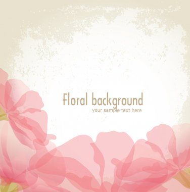 Vector pink petals of a flower on grunge background