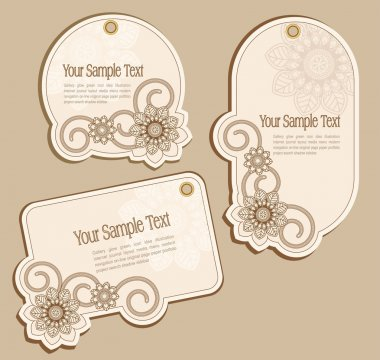 Vector Price Tags beige with floral patterns