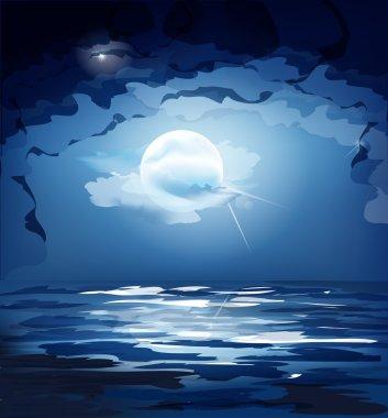 Vector dark blue night sky, the moon and the sea