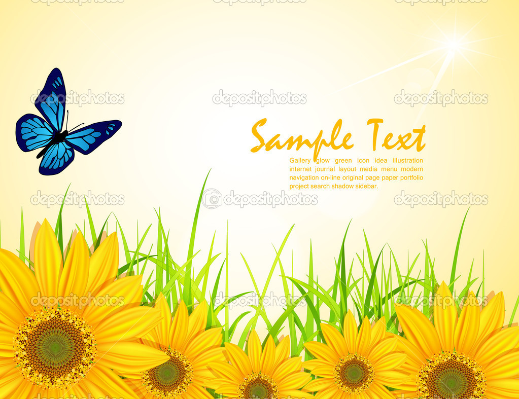 Vector background with yellow sunflowers, green grass and butter