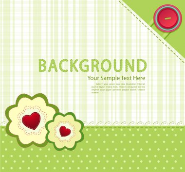 Vector green background with buttons and two flowers with hearts