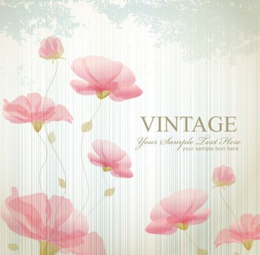 Vector vintage background with flowers clip art vector