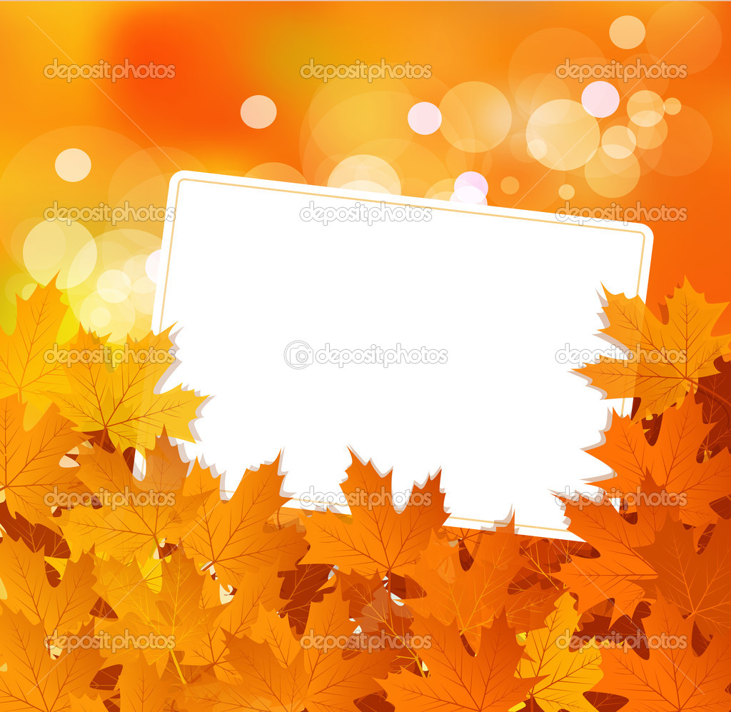 Vector autumn background with leaves and a greeting card