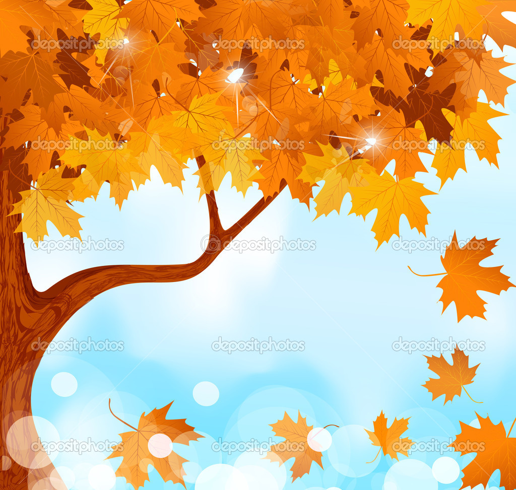 Vector autumn tree maple leaves against the blue, bright sky