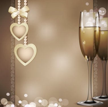 Romantic congratulatory vector background with two glasses of wh