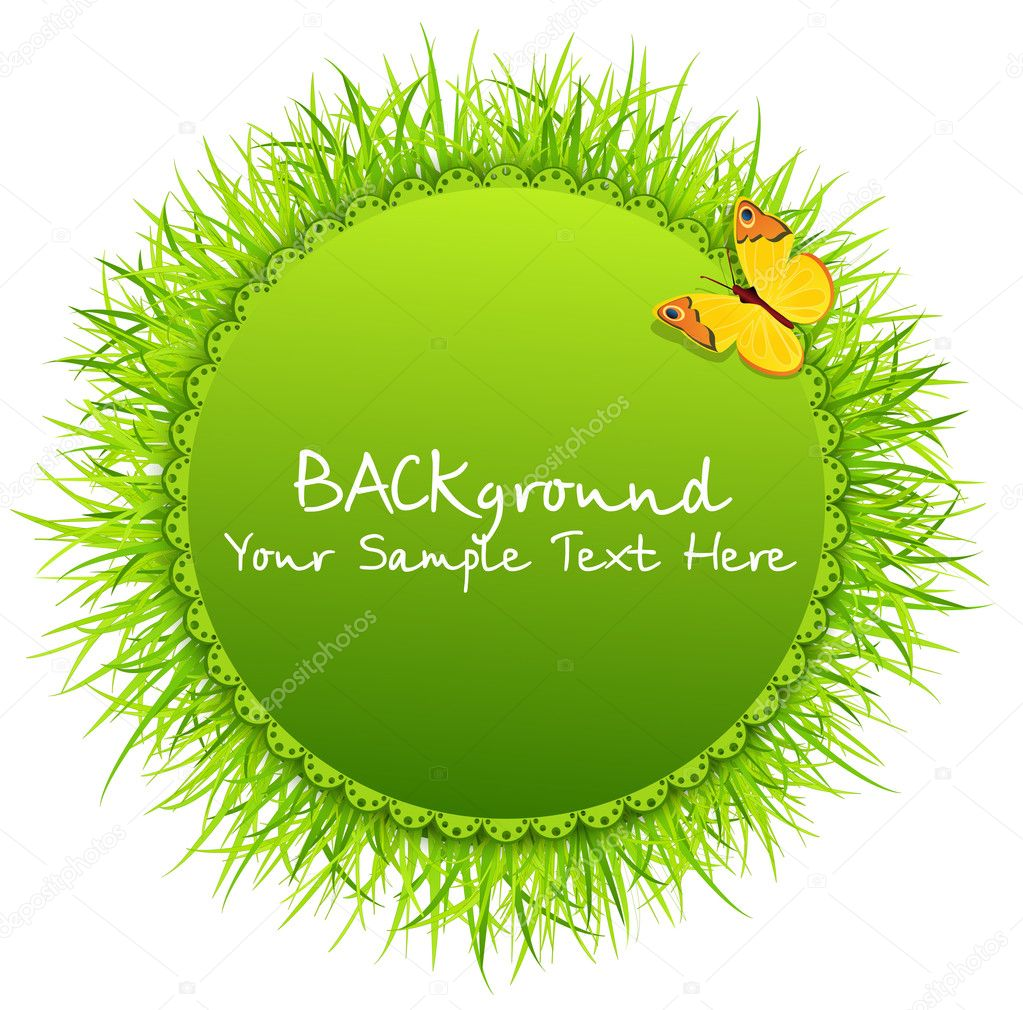 Vector abstract background with round greeting card with grass a