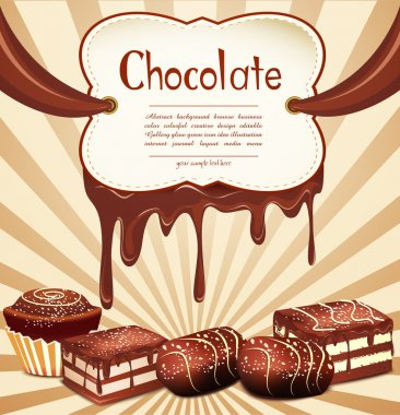 Vector holiday background with chocolate candy and chocolate sta