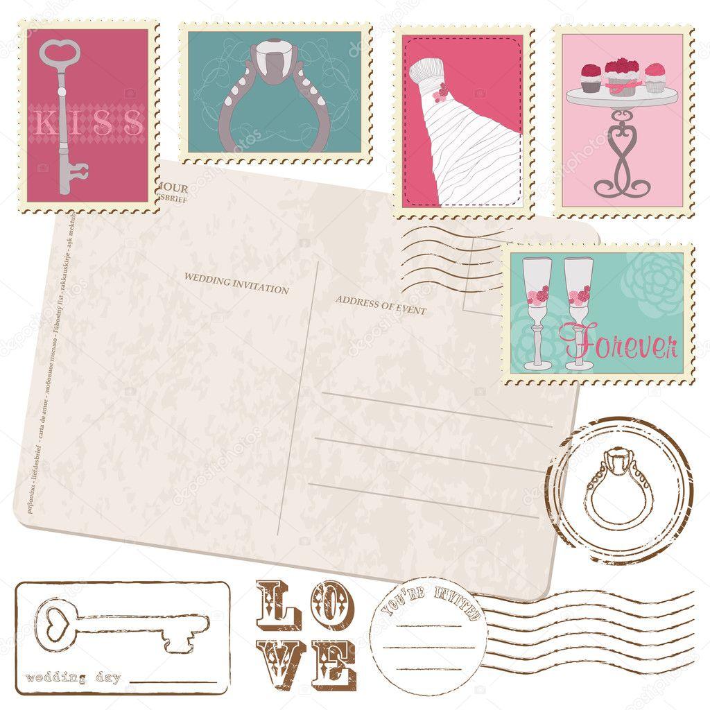 stock illustration set of wedding postage stamps wedding postage stamps Set Of Wedding Postage Stamps with retro Postcard Stock Vector