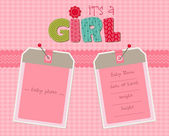 Photo Baby Girl Arrival Card with Photo Frame in vector