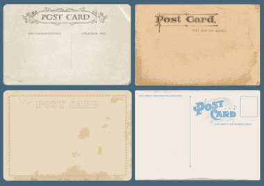 Set of Antique postcards in vector with Postal stamps