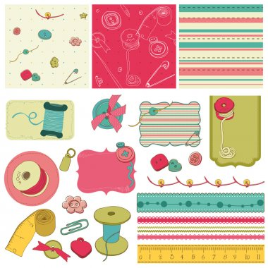 Sewing kit - design elements for scrapbooking