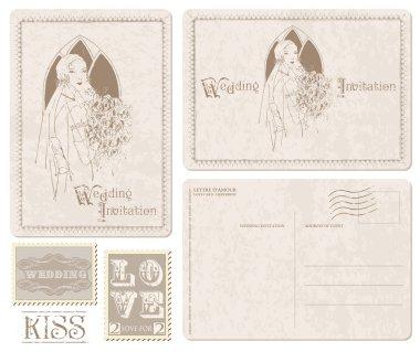 Retro Wedding Invitation postcard with Bride - for design and scrapbook clip art vector