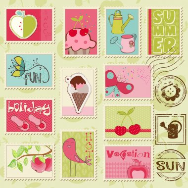 Vector summer stamps - set of beautiful summer-related rubber st