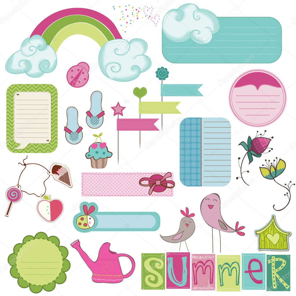 Summer Design Elements for scrapbook, card, invitation