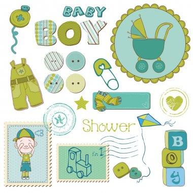 Scrapbook Baby shower Boy Set - design elements