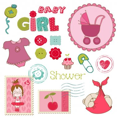 Scrapbook Baby shower Girl Set - design elements