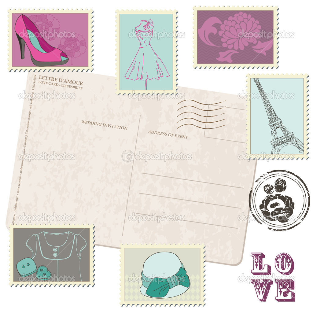 Retro Postcard with Set of Fashion Stamps