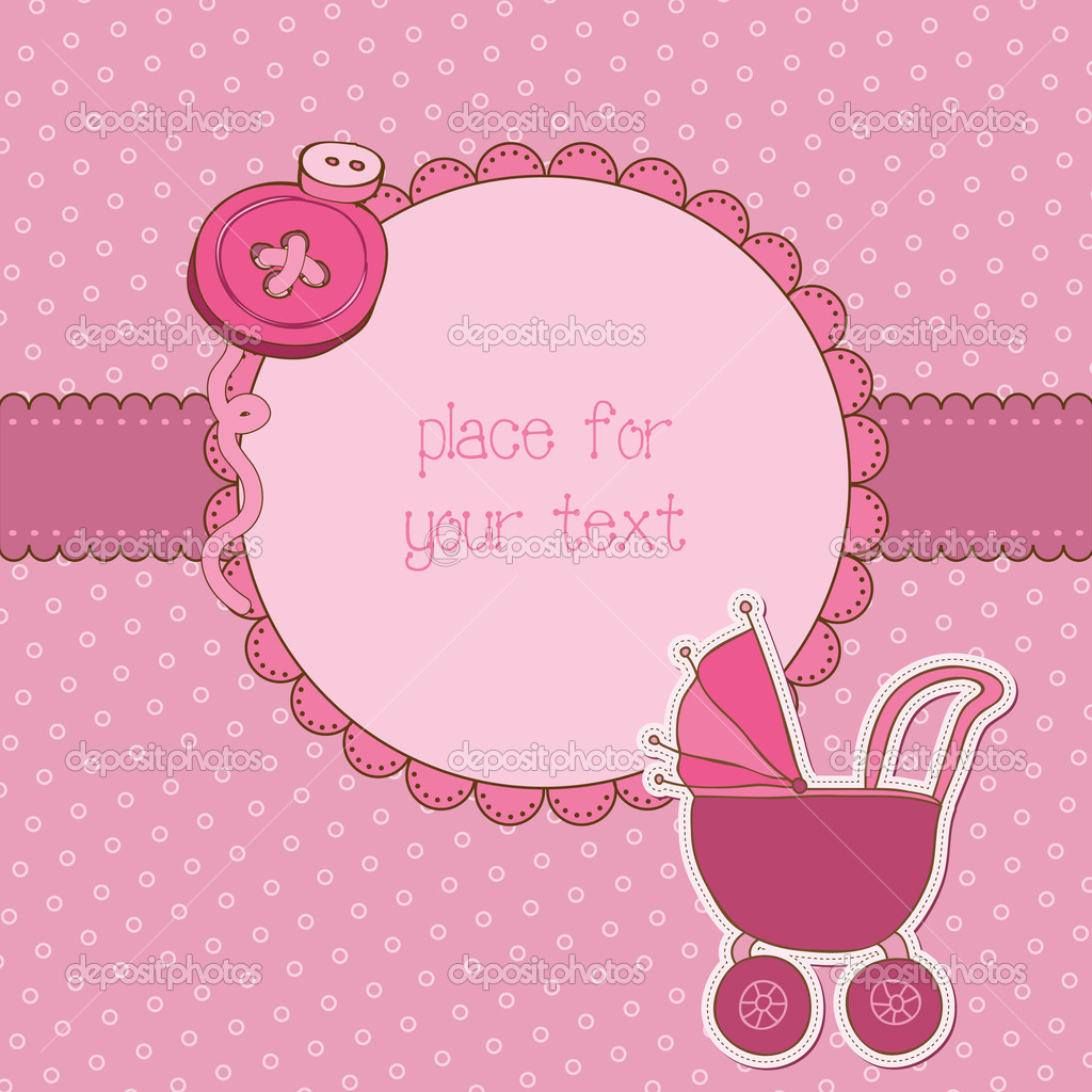 Baby Girl Arrival Card With Photo Frame And Place For Your