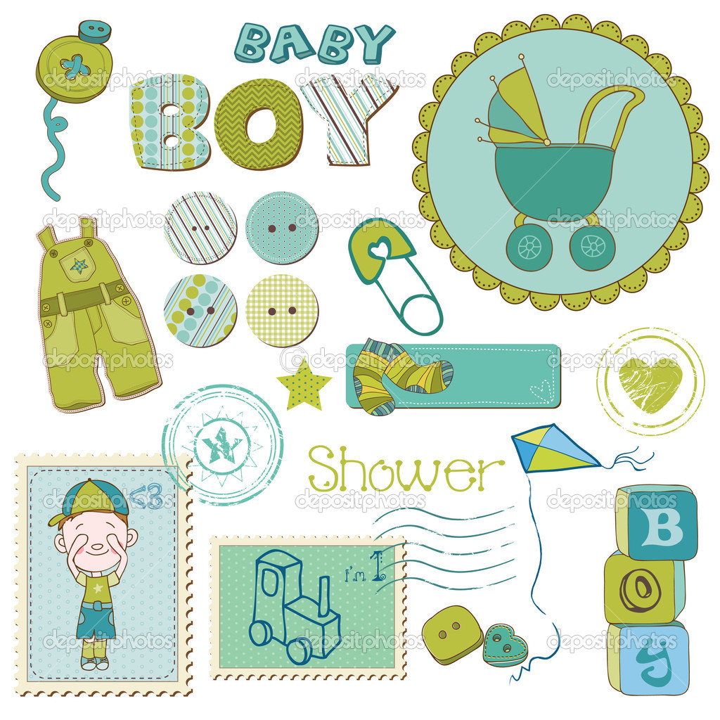 download scrapbook baby shower boy set design elements stock