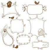 Fotografia dolce doodle cornici con uccelli e case delluccello