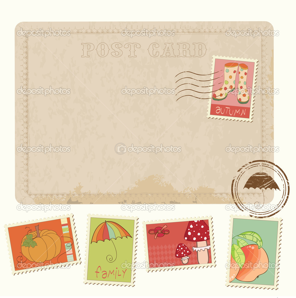 Retro Invitation postcard with Autumn stamps - for design and sc