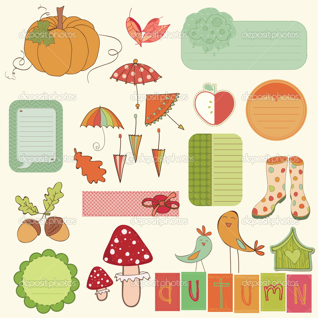Autumn Cute Elements Set - for scrapbook, design, invitation, gr