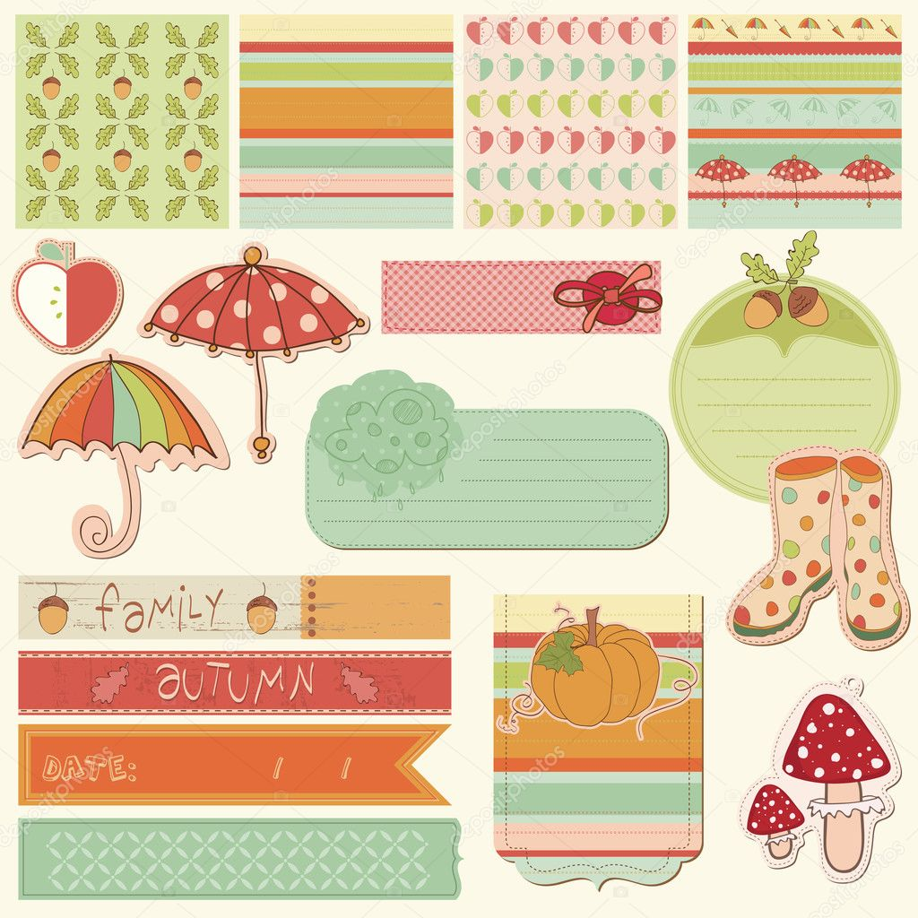 Autumn Cute Elements - for scrapbook, design, invitation, greeti