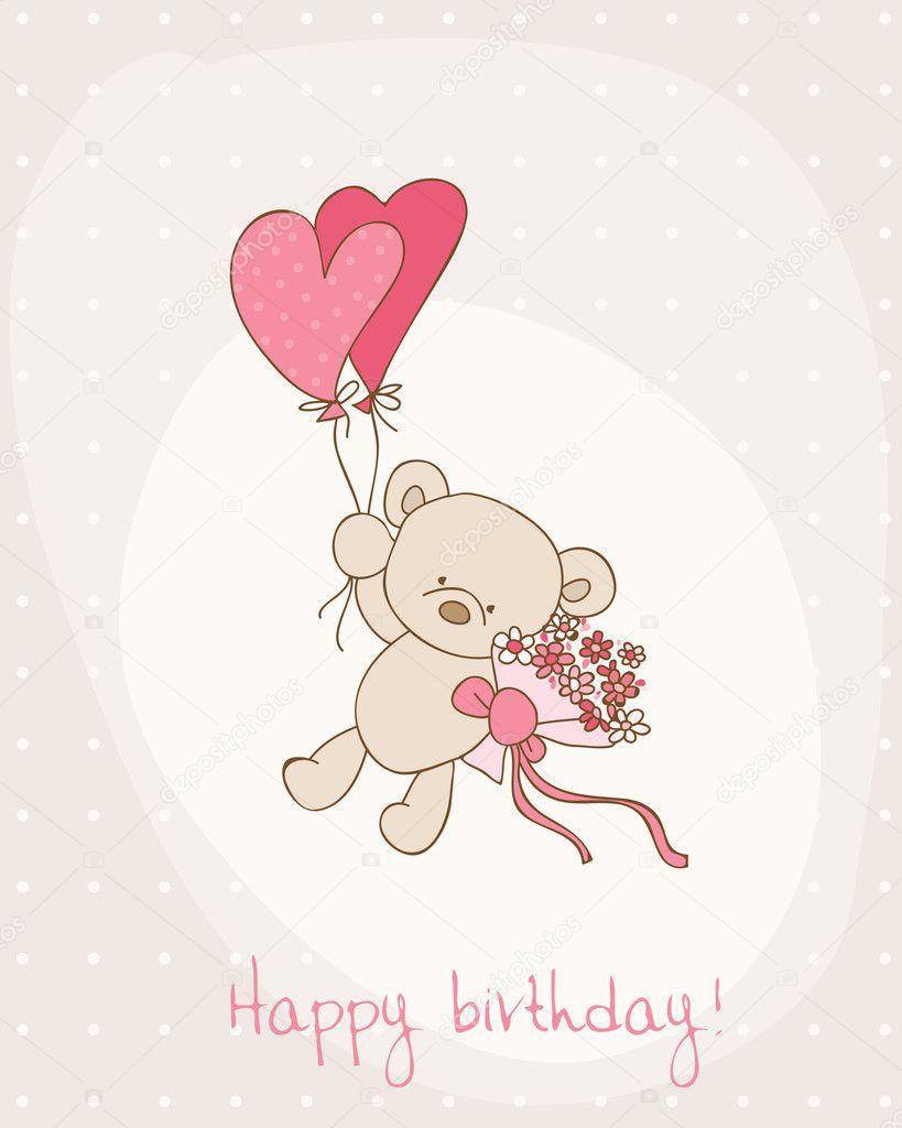 Greeting Birthday Card with Cute Bear Vector woodhouse – Birthday Card Bear