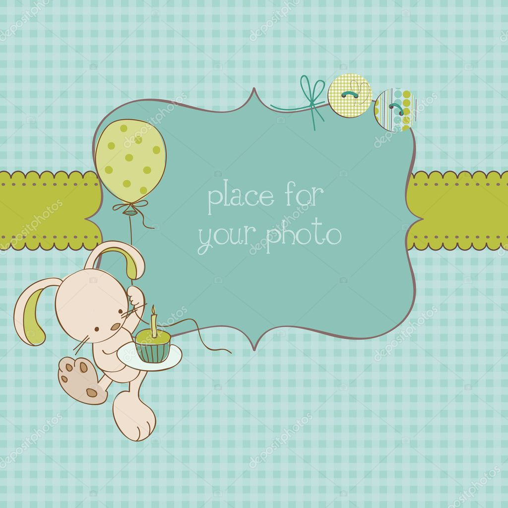 Baby Greeting Card with Photo Frame and place for your text