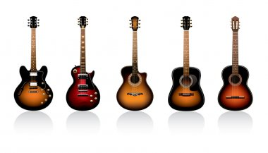 Group of beautiful guitars