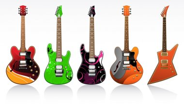 Five electric guitars