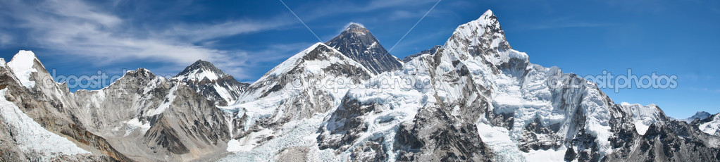Mount Everest panorama photo was taken from the top of Kala Pattar