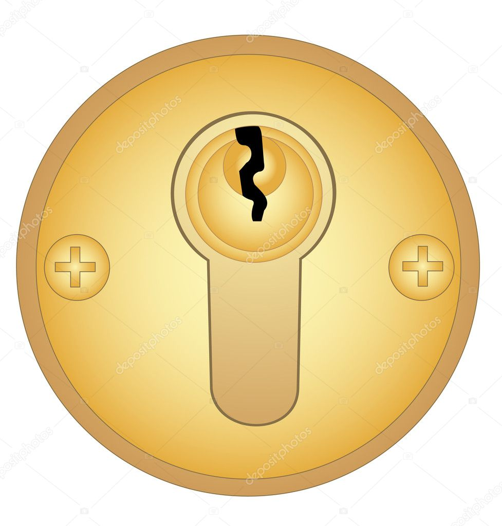 gold keyhole clipart - HD977×1024