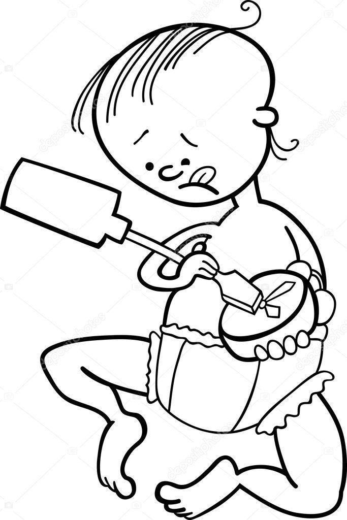 chico destruyendo el reloj para colorear libro — Archivo Imágenes ...