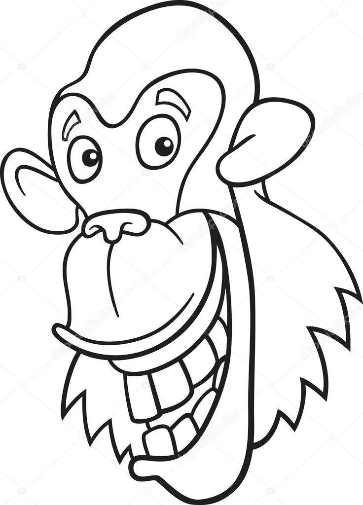 chimpancé para colorear libro — Archivo Imágenes Vectoriales ...