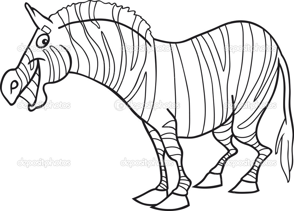 Cartoon zebra for coloring book — Stock Vector © izakowski #5840542